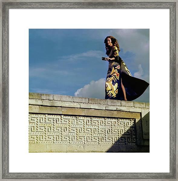 Model Wearing A Valentino Dress Framed Print