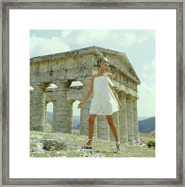Model Wearing A White Culotte Wrap Framed Print