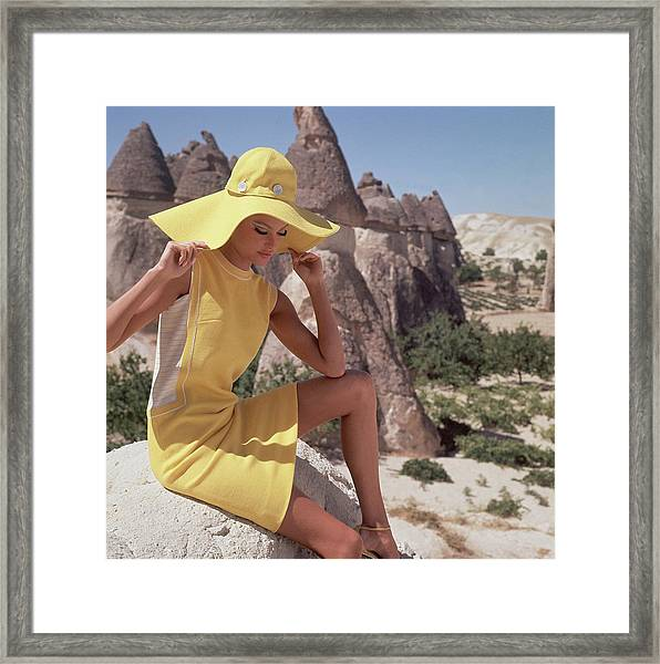 Model Wearing A Yellow Dress By Leslie Fay Framed Print