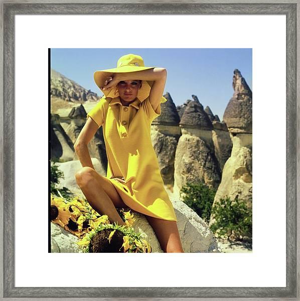 Model Wearing A Yellow Ensemble Framed Print
