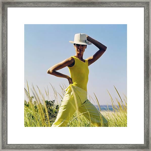 Model Wearing A Yellow Loomtogs Ensemble Framed Print by John Cowan