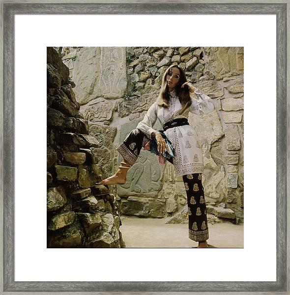 Model Wearing Bill Blass In Oaxaca Framed Print
