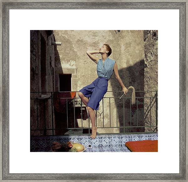 Model Wearing Blue Culottes And A Sea-green Shirt Framed Print