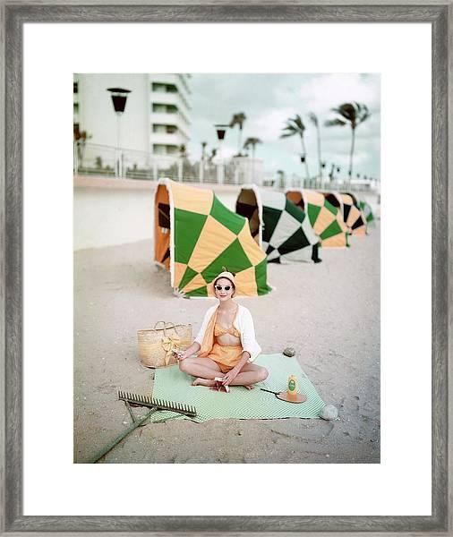 Model Wearing Cabana Swimwear On A Beach Framed Print
