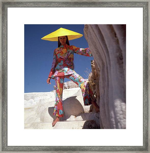 Model Wearing Floral Pants And Top By Bill Blass Framed Print
