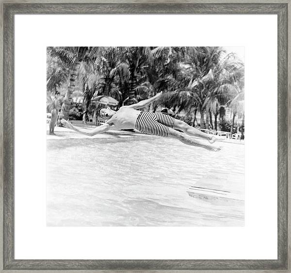 Model Wearing Robert Bruce Trunks Framed Print