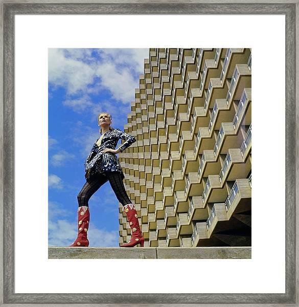 Model Wearing Sabra Boots Framed Print