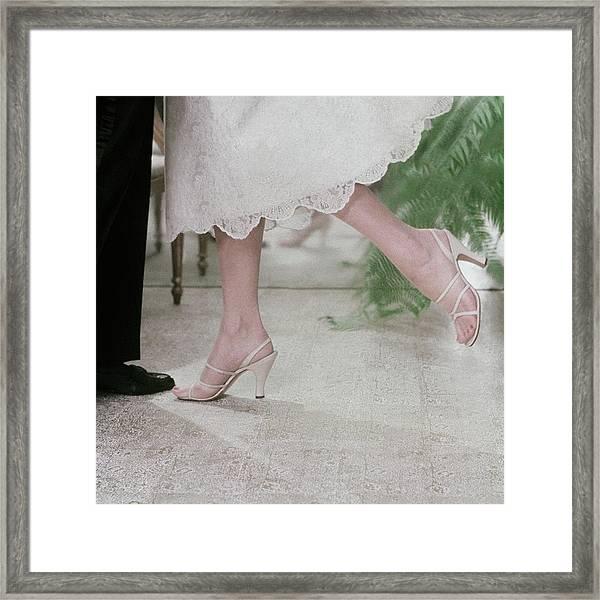Model Wearing Sandals By Delmanette Framed Print
