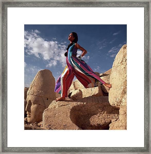 Model Wearing Silk Dinner Pajamas In Goreme Framed Print