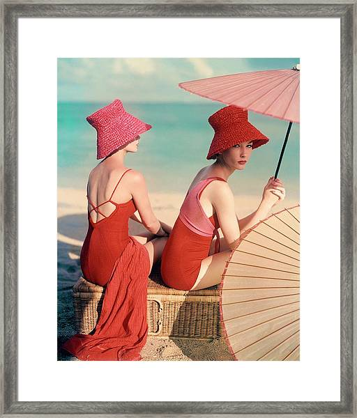 Models At A Beach Framed Print by Louise Dahl-Wolfe