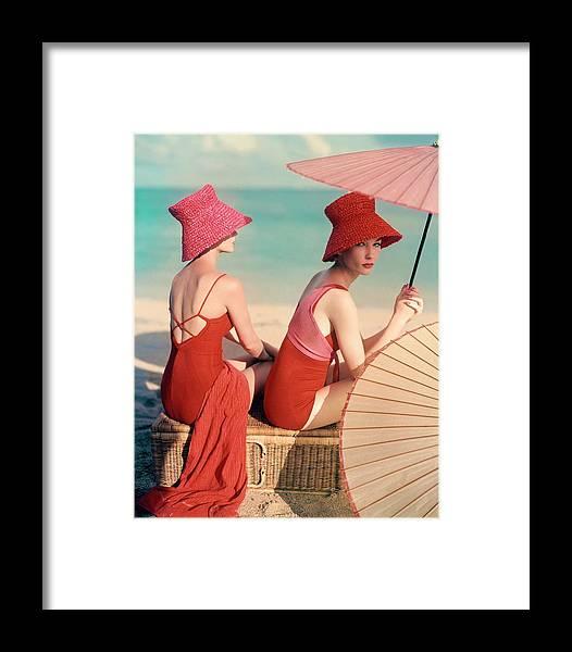 Models At A Beach Framed Print