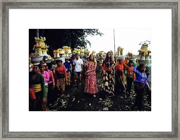 Models During Procession In Bali Framed Print