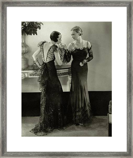 Models In Evening Gowns Framed Print