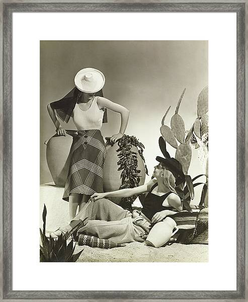 Models In Schiaparelli Maillots Framed Print