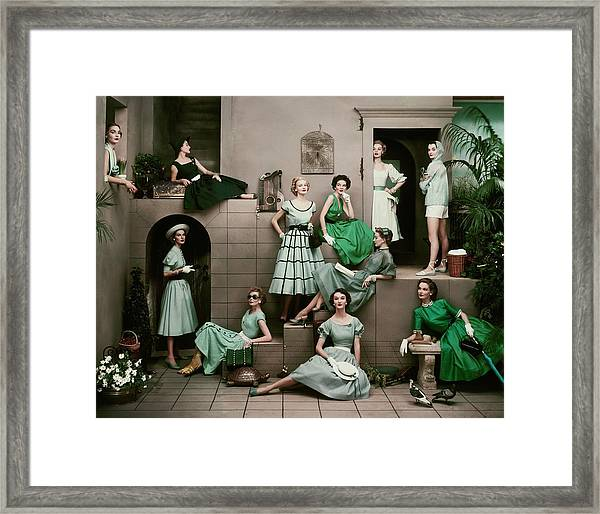 Models In Various Green Dresses Framed Print by Frances Mclaughlin-Gill