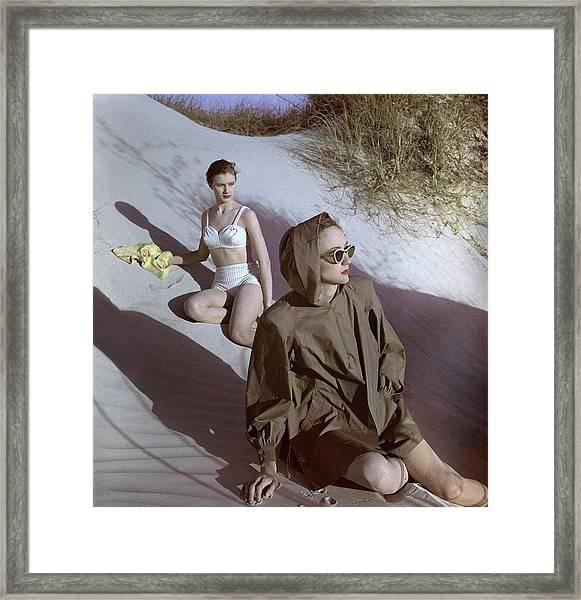 Models On Sand Dunes Framed Print