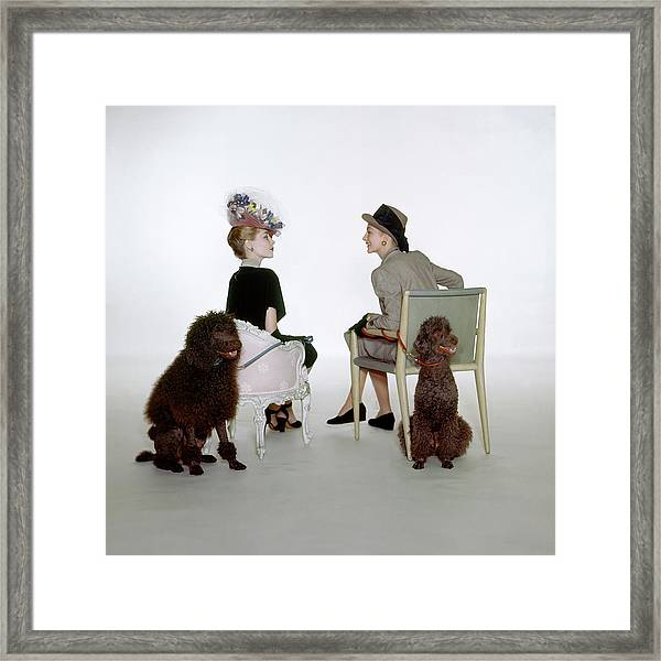 Models Sitting With Poodles Framed Print by John Rawlings