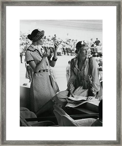 Models Wearing Checked Shirtdresses At Hialeah Framed Print by Kourken Pakchanian