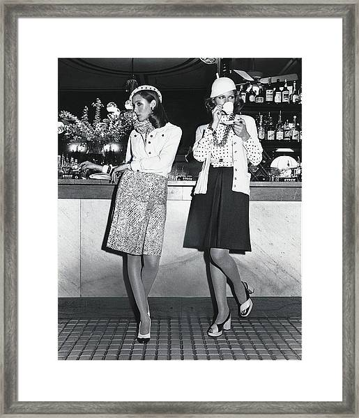 Models Wearing Cloche Hats At A Bar Framed Print