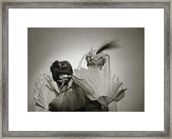 Models Wearing Patou Headdresses Framed Print by Cecil Beaton