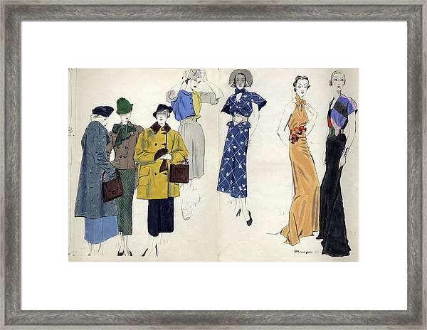 Models Wearing Schiaparelli Framed Print by Pierre Mourgue