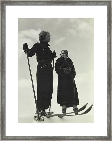 Models Wearing Skiing Ensembles Framed Print