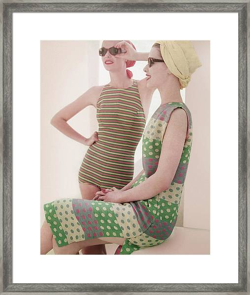 Models Wearing Swimwear And Dress Framed Print