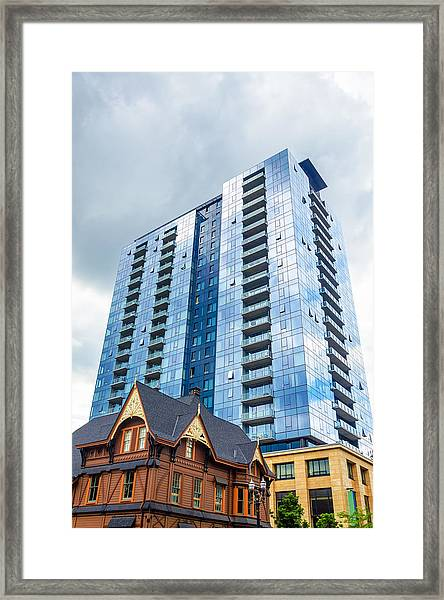 Modern And Old Buildings Framed Print
