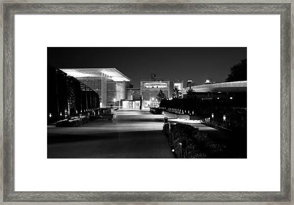 Modern Architecture Night Black White Framed Print