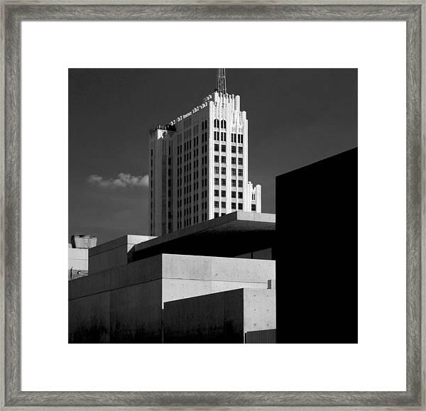 Modern Art Deco Architecture Black White Framed Print
