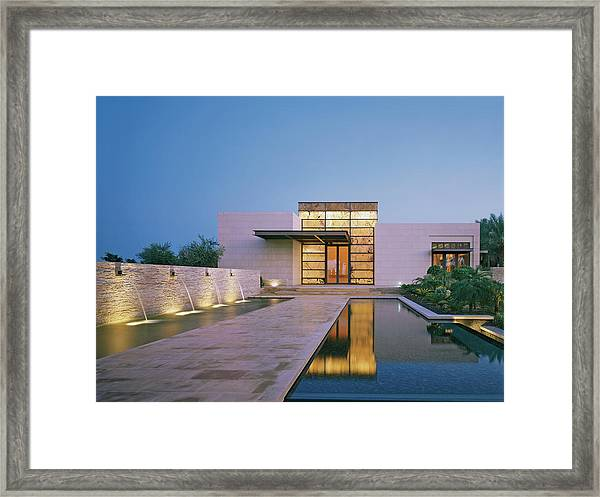 Modern Building With Pool At Dusk Framed Print