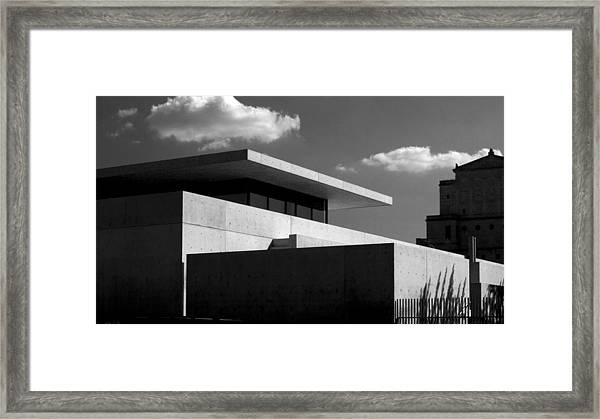 Modern Concrete Architecture Clouds Black White Framed Print