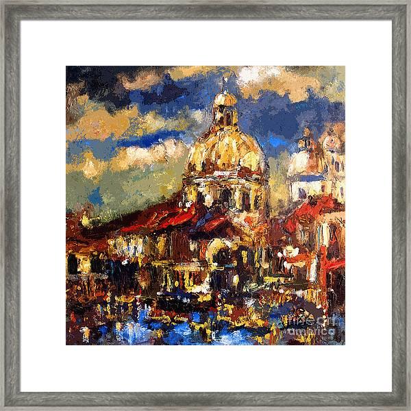 Modern Impressionist Venice Sparkling At Sunset  Framed Print