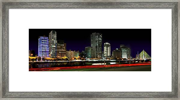 Modern Sao Paulo Skyline Near Brooklin District And Stayed Bridge Framed Print