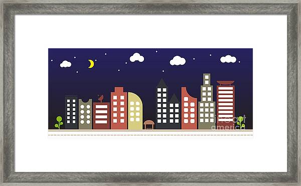 Modern Urban Building Landscape Vector Framed Print by Bwart