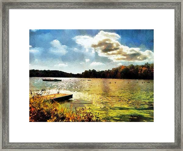 Mohegan Lake Gold Framed Print