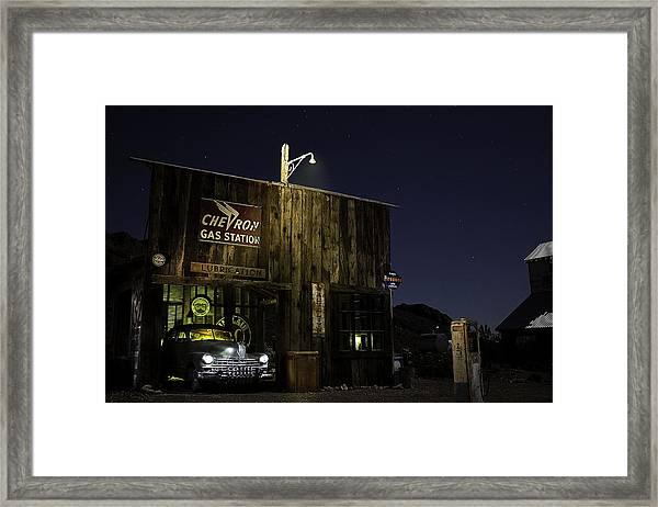 Mojave Nights At The Chevron Gas Station Framed Print