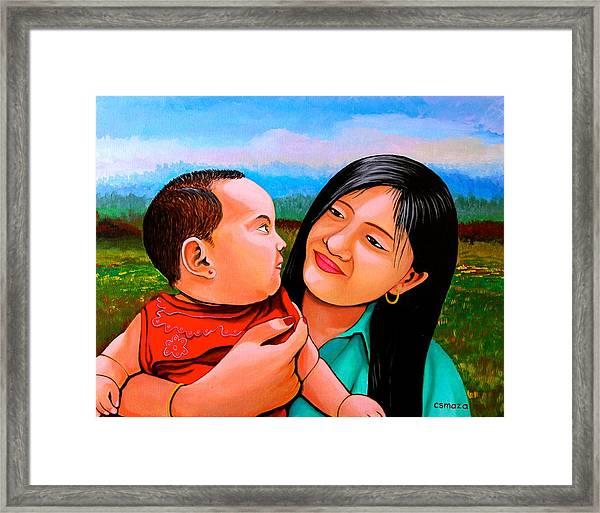 Mom And Babe Framed Print