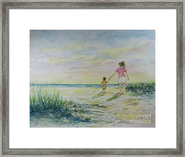 Mommy And Me At The Beach Framed Print