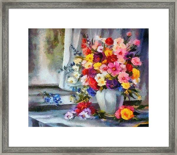 Monet Floral Edged Framed Print
