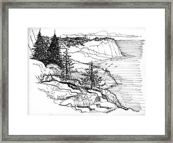 Monhegan Cliffs 1987 Framed Print