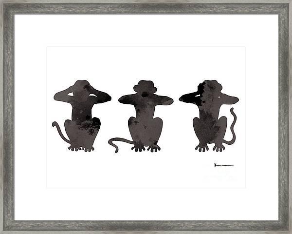 Monkey Painting Watercolor Art Print Framed Print