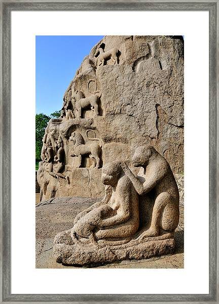 Monkey Sculptures Near The Arjuna's Framed Print