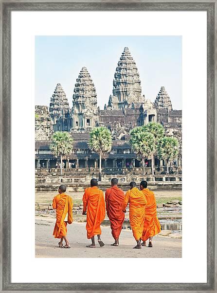 Monks, Angkor Wat, Cambodia Framed Print