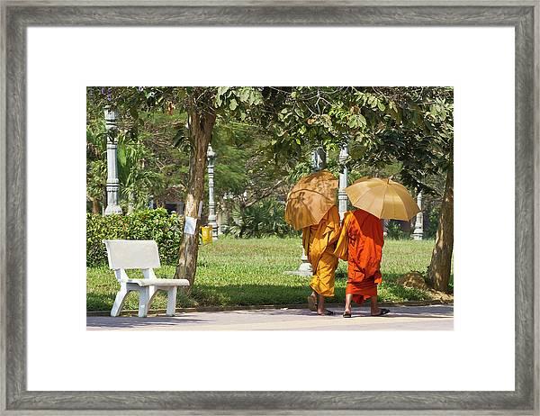 Monks, Battambang, Cambodia Framed Print