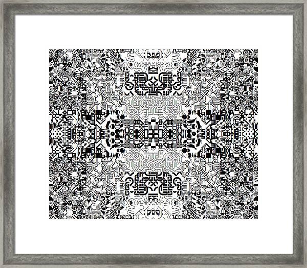 Monochrome Geometric Random Glyphs Framed Print