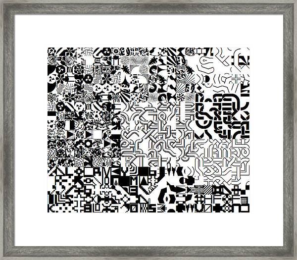 Monochrome Random Glyphs Framed Print