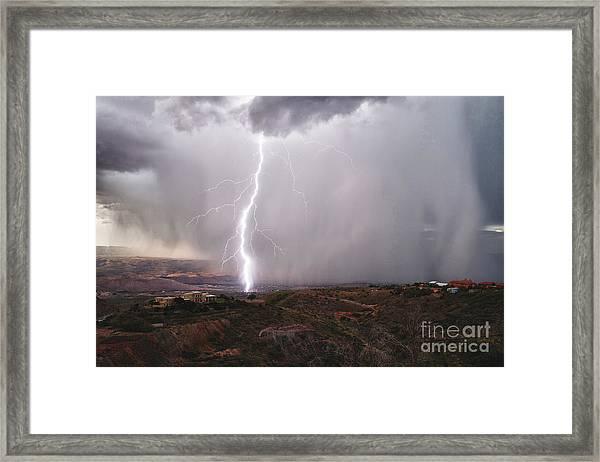 Monsoon Lightning Hits Clarkdale Arizona As Seen From Jerome Framed Print
