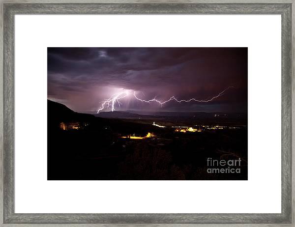 Monsoon Lightning In Jerome Az Framed Print