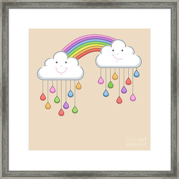 Monsoon Season Background With Happy Framed Print